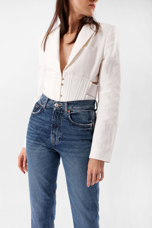 Stella McCartney Abigail Cropped Cut-out Cady Jacket (Est. Retail $1,925)