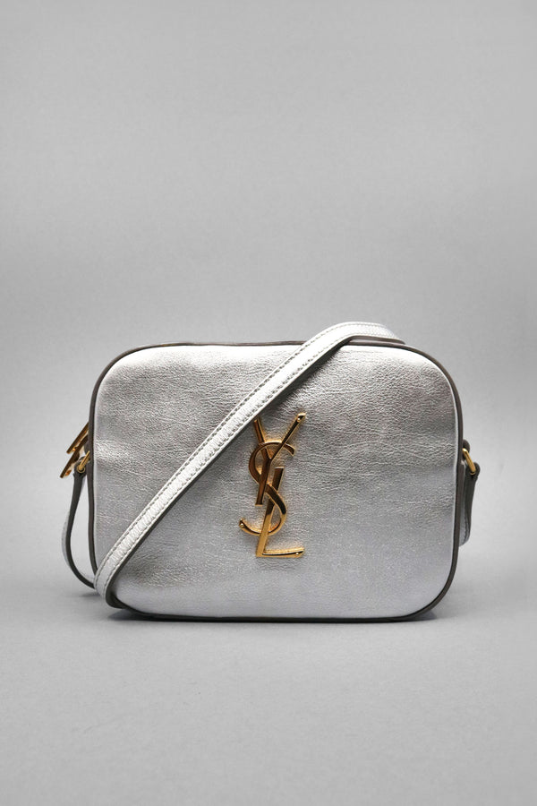 Saint Laurent Monogram Metallic Leather Camera Bag