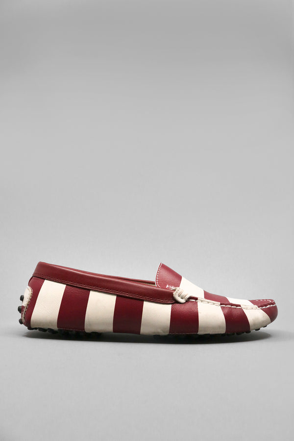 Tod's Striped Leather Driving Shoes