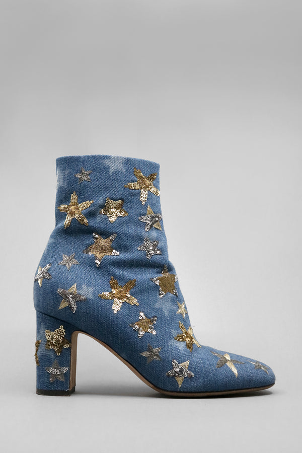 Valentino Embellished Denim Star Booties