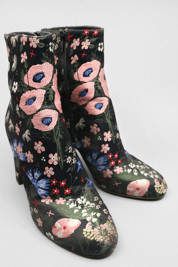 Valentino Camu Garden Embroidered Brocade Booties