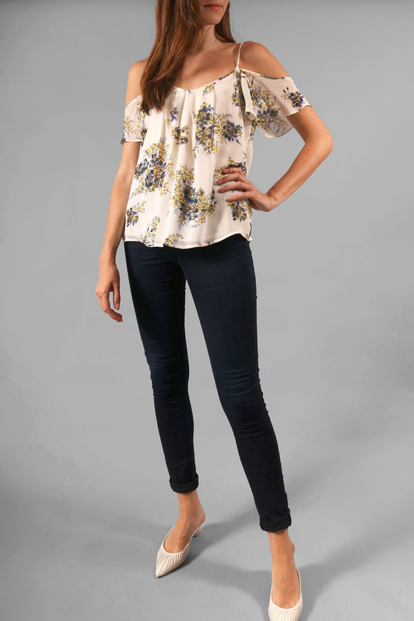 Joie Floral Cold-Shoulder Top
