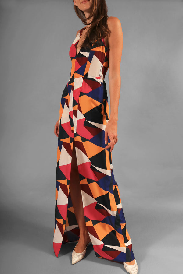 Dirk Bikkembergs Geometric Print Maxi Dress