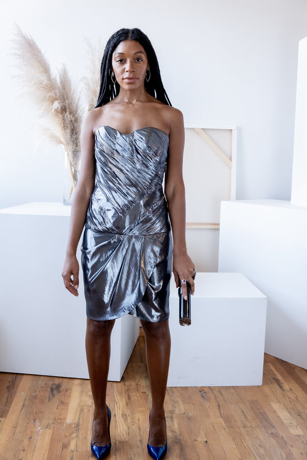 Rami Kashoú Metallic Lurex Strapless Dress