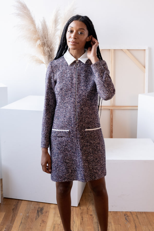 Maje Tweed Dress with Collar