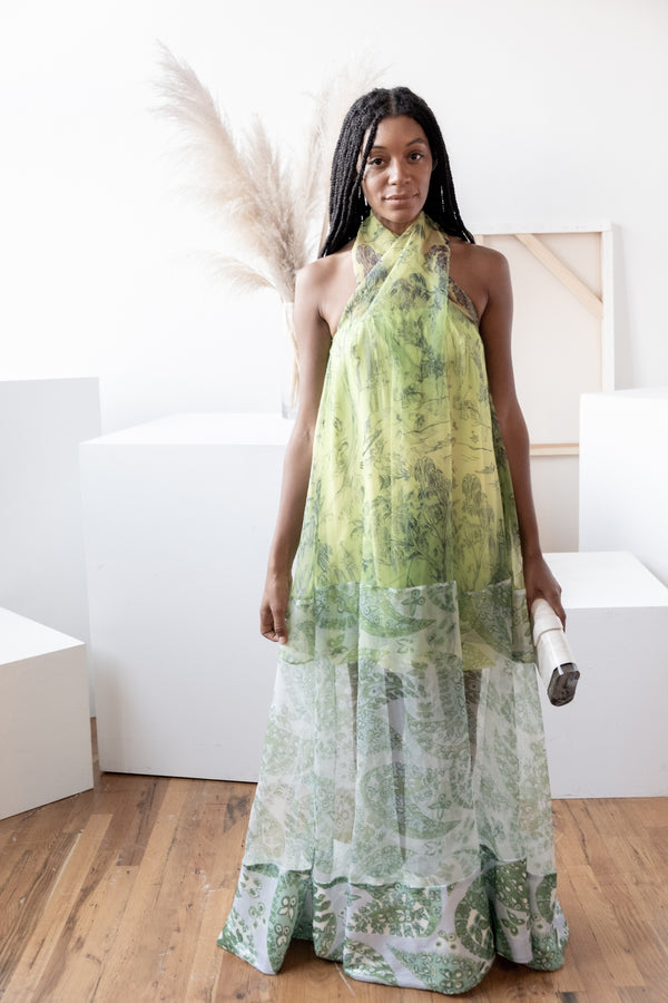 Staud 'Neem' Printed Georgette Maxi Dress | New with tags (est. retail $395)