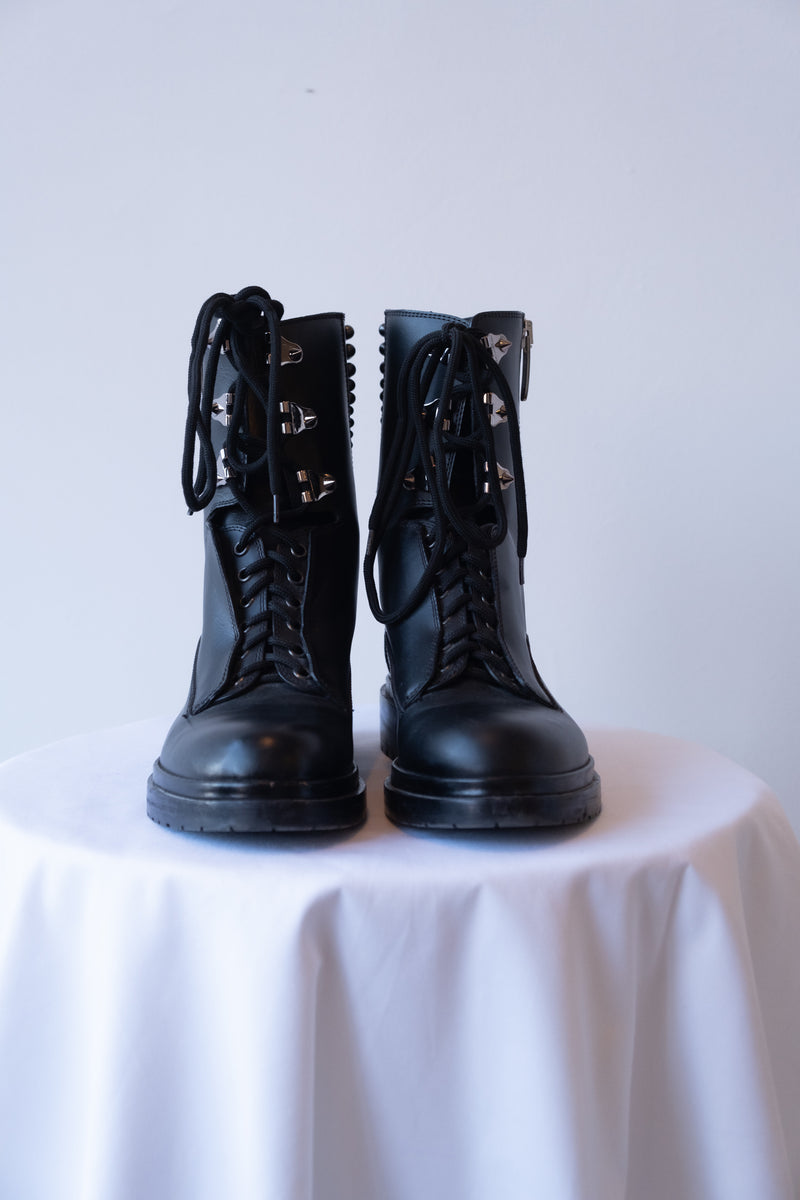 Sergio Rossi Studded Leather Combat Boots