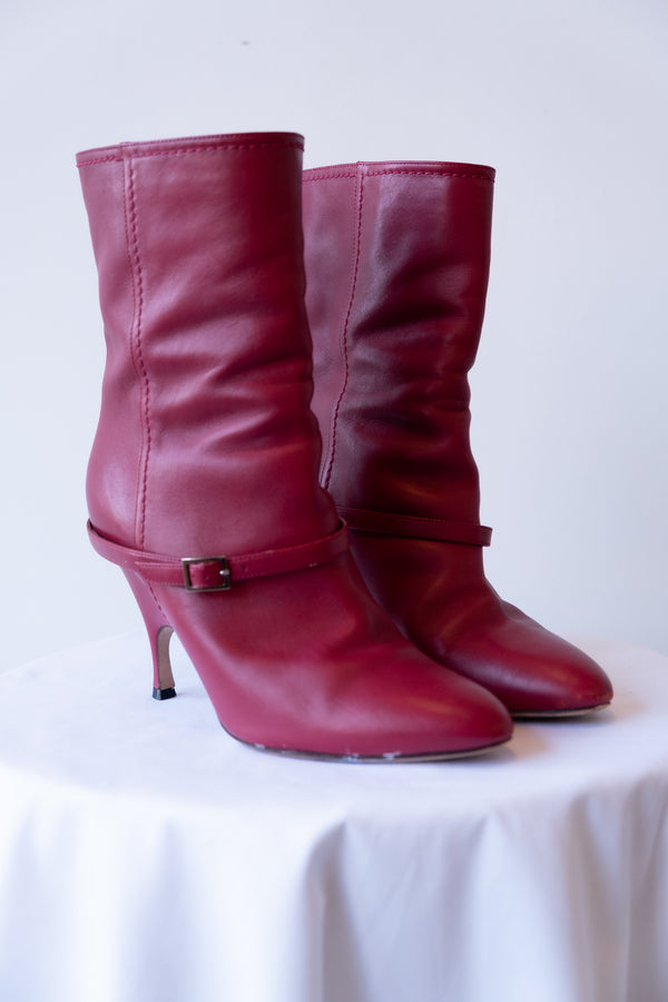 Alchimia Di Ballin Red Leather Booties
