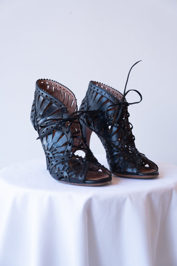 Alaïa Laser-Cut Lace Up Leather Booties