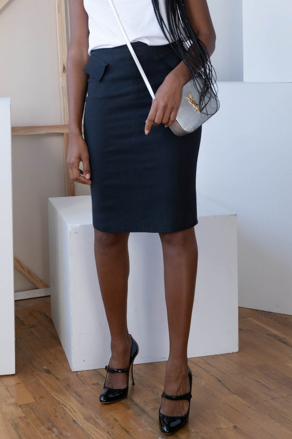 Roland Mouret Peplum Cotton Pencil Skirt