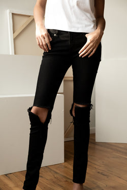 Saint Laurent Black Distressed Jeans