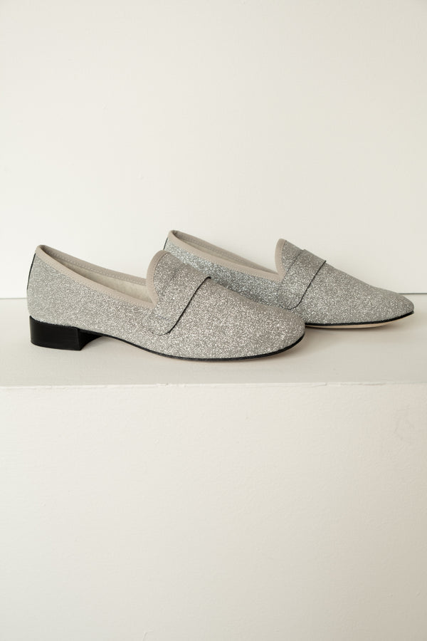 Repetto Silver Glitter Loafer | New with box