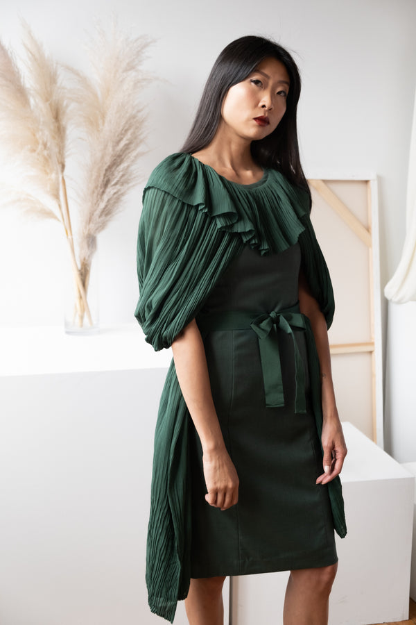 Ports 1961 Pleated Cape Dress