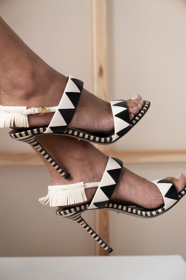 Sergio Rossi Black and White Fringe Leather Sandal