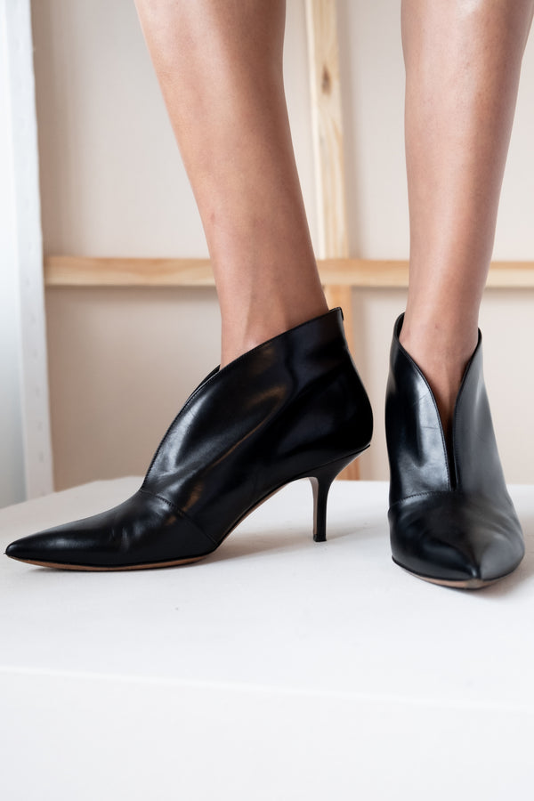 Celine V-Neck Leather Ankle Boots