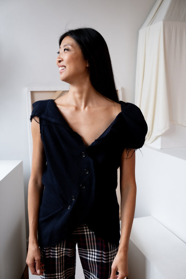Issey Miyake Navy Wool and Silk-Blend Top