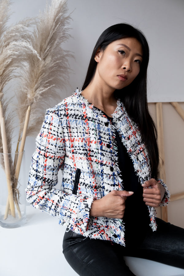 Rag & Bone Multicolored Cropped Tweed Jacket