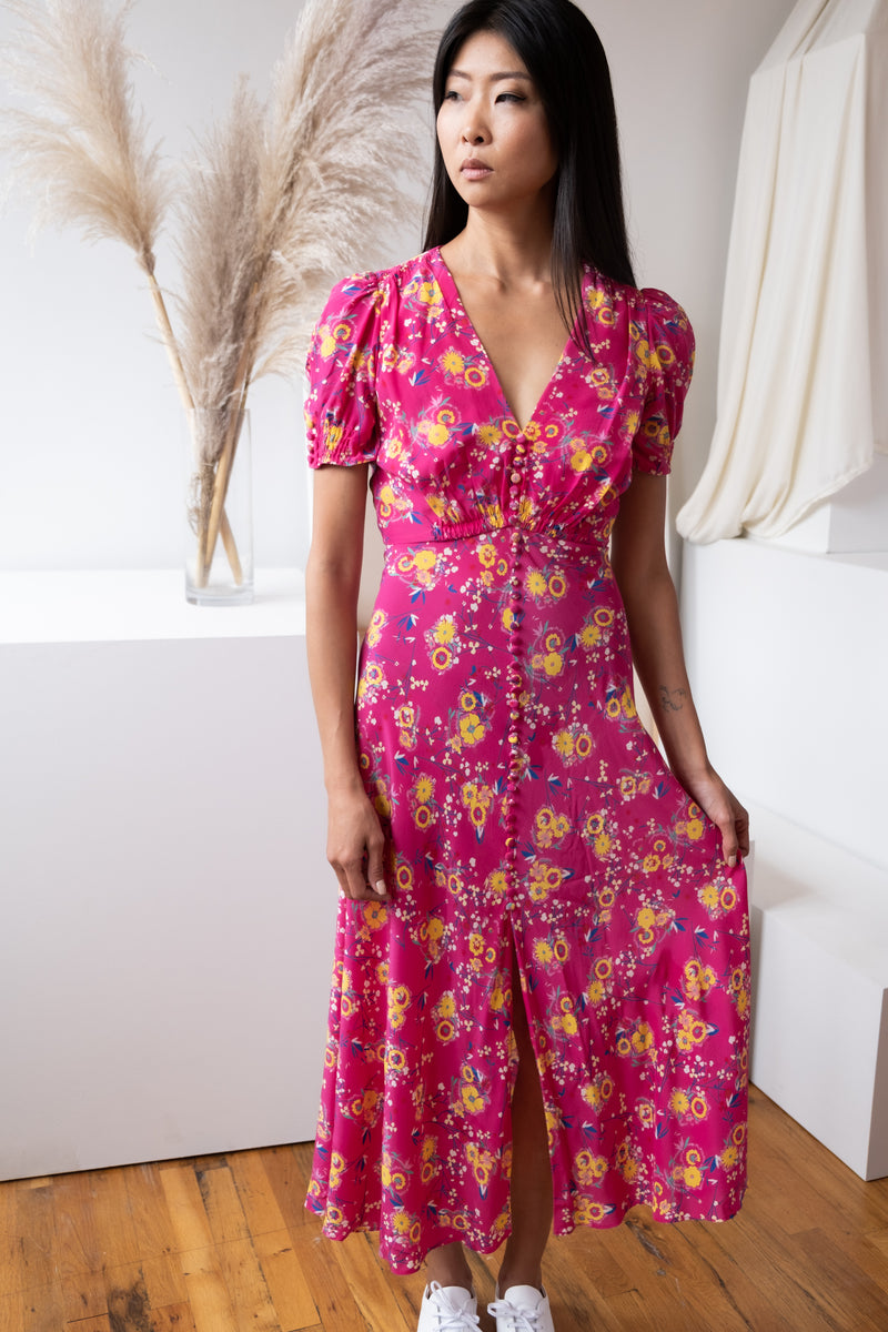 Saloni Floral Silk Dress