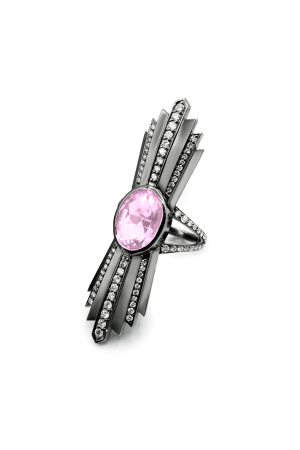 Deborah Pagani 'Talula' 18K White Gold with Black Rhodium Finish, Rose Quartz and Diamond Ring (est. retail $8,400)