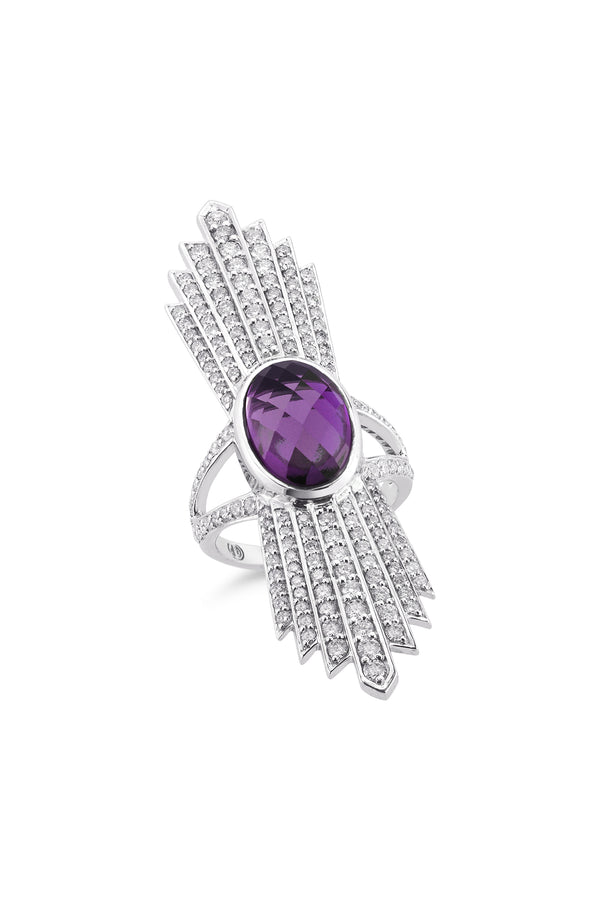 Deborah Pagani's 'Talula' 18K White Gold, Diamond and Amethyst Ring (est. retail $7,380)