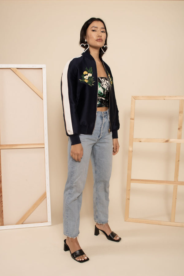 Stella McCartney Embroidered Silk Bomber Jacket