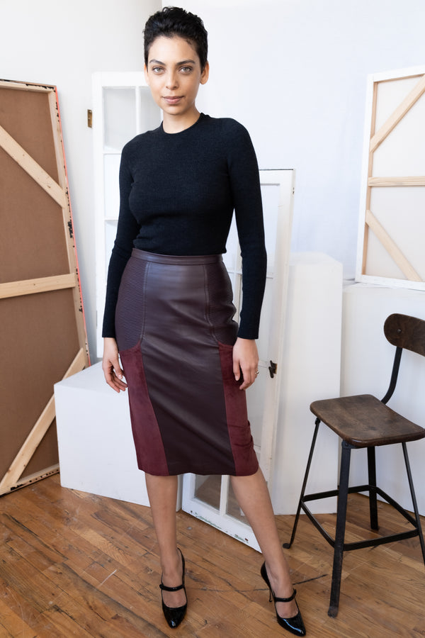 Julianna Bass 'Priscilla' Moto Lambskin Leather and Suede Pencil Skirt (Est. retail $1,850)