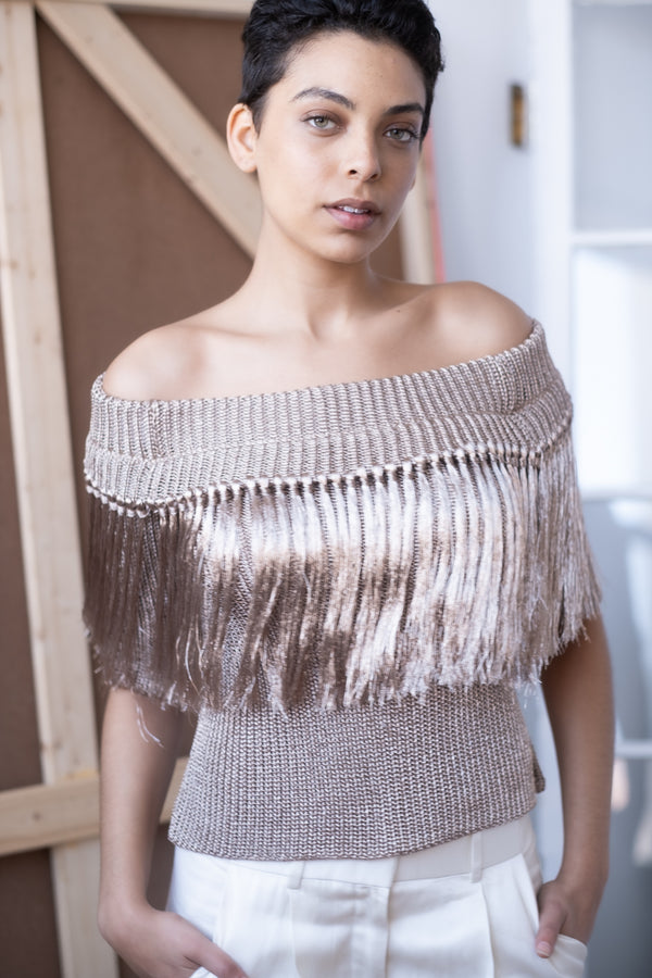 Julianna Bass 'Alyssa' Metallic Fringe Knit Top (Est. retail $1,495)