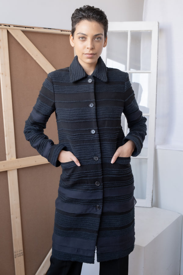 Carolina Herrera Striped Cotton-Blend Coat (Est. retail $2,190)