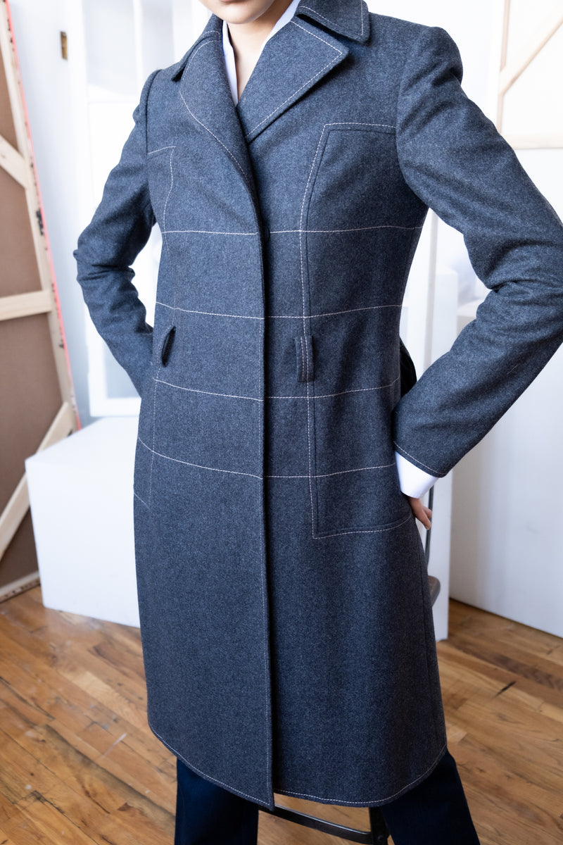 Carolina Herrera Charcoal Wool Coat (Est. retail $2,590)