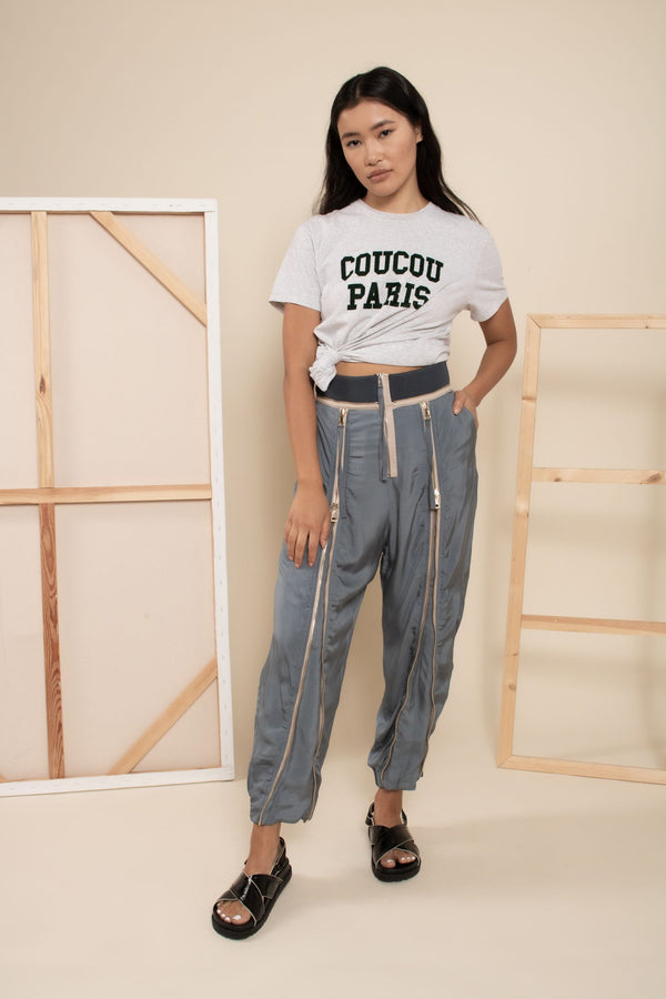 Chloe Satin Zipper Track Pants