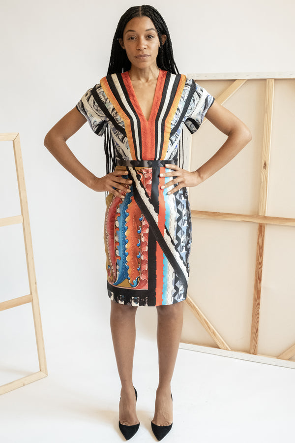 Peter Pilotto Printed Striped Silk-Blend Dress