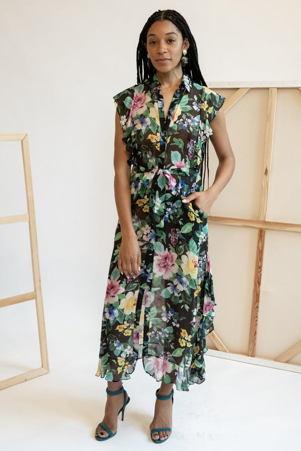 Marissa Webb Ruffled Floral Midi Dress