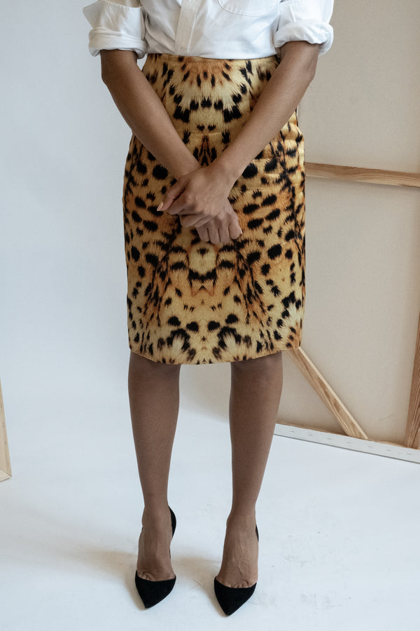 Josh Goot Leopard Print Pencil Skirt