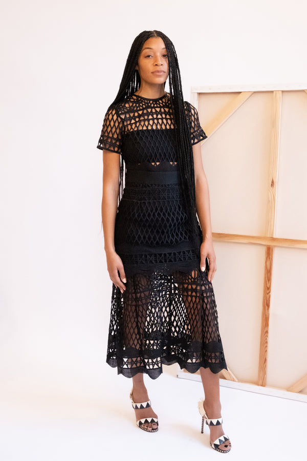 Self-Portrait Tiered Lace Midi Dress