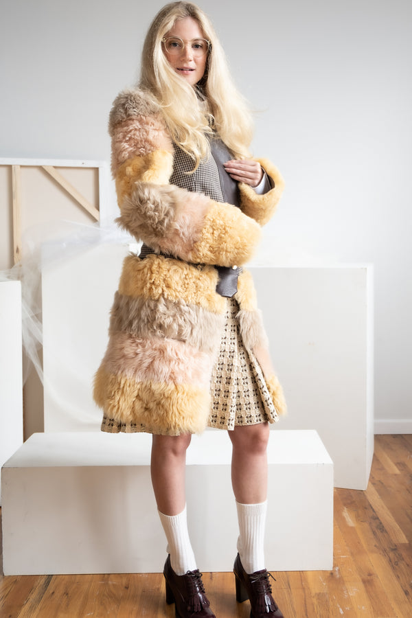 Marni Multicolored Shearling and Houdstooth Coat (est. retail $2,940)