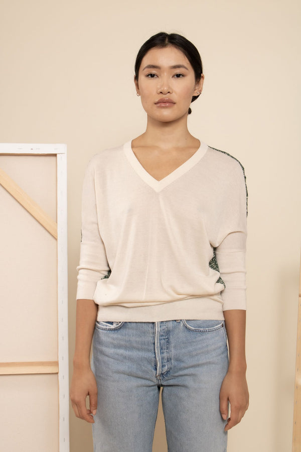 Derek Lam Silk- Paneled Sweater
