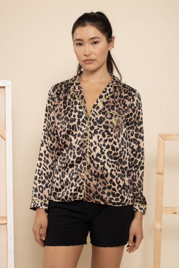 Love Stories Leopard Silk Pajama Top