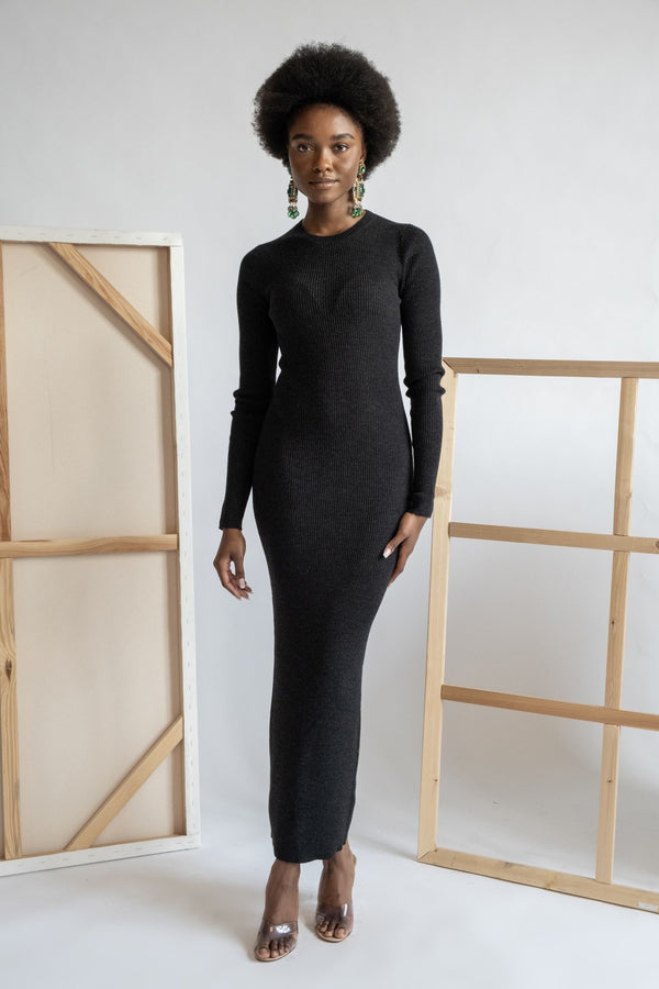 Theory Ribbed Knit Midi Dress