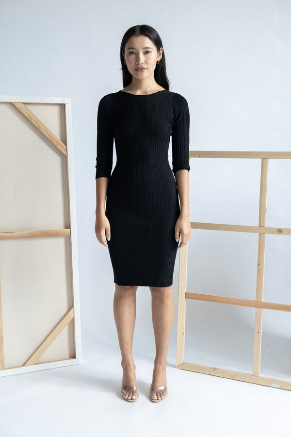 Maje Ribbed Knit Midi Dress