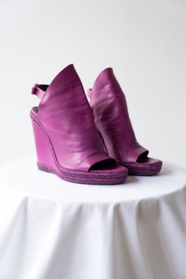 Balenciaga Leather Slingback Wedge