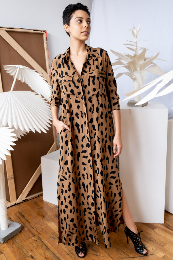L'Agence Leopard Silk Shirt Dress