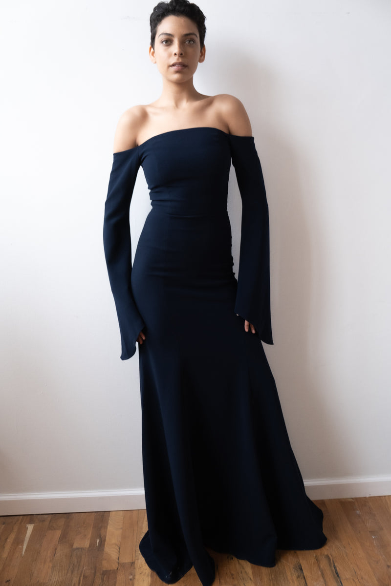 Julianna Bass 'Nicollette' Stretch Crepe Navy Gown  | new with tags (Est. retail $1,850)
