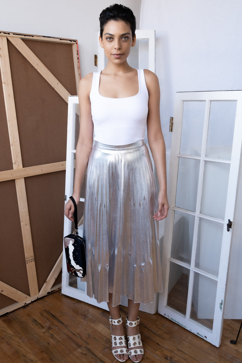 Julianna Bass 'Isabella' Stretch Crepe Silver Pleated Skirt (Est. retail $1,095)
