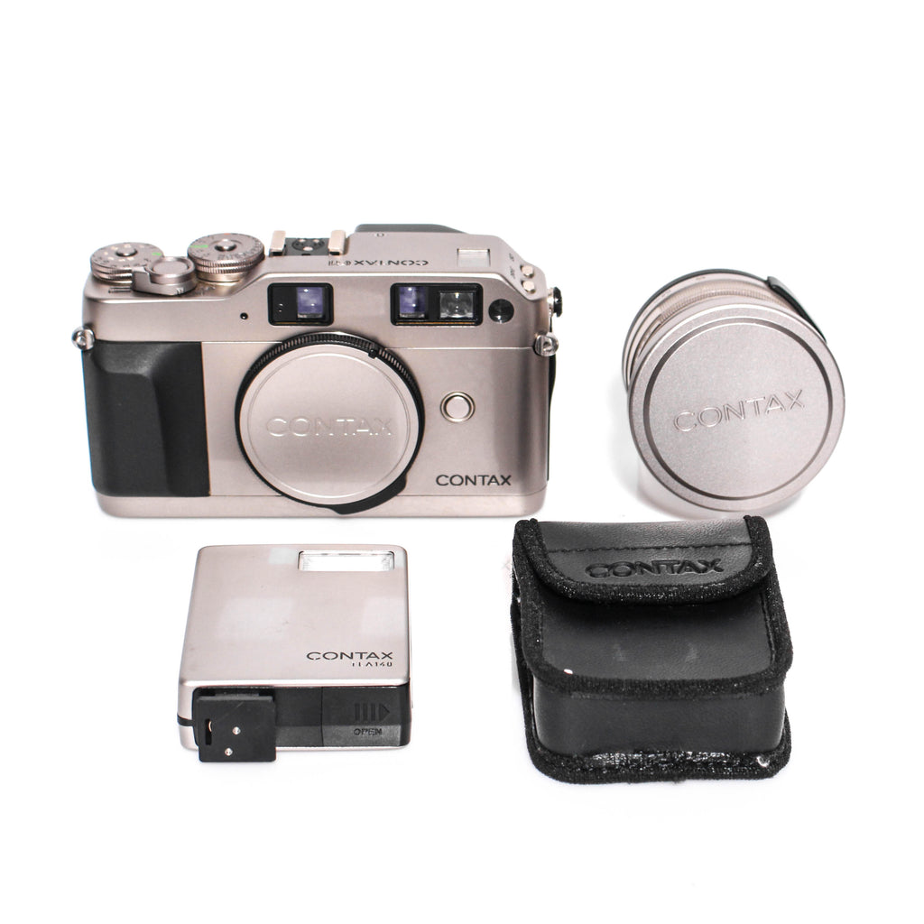 CONTAX G1 (Silver Label) Kit W/ Carl Zeiss Biogon T* 2.8/28 + TLA140 Flash Rangefinder Film Camera