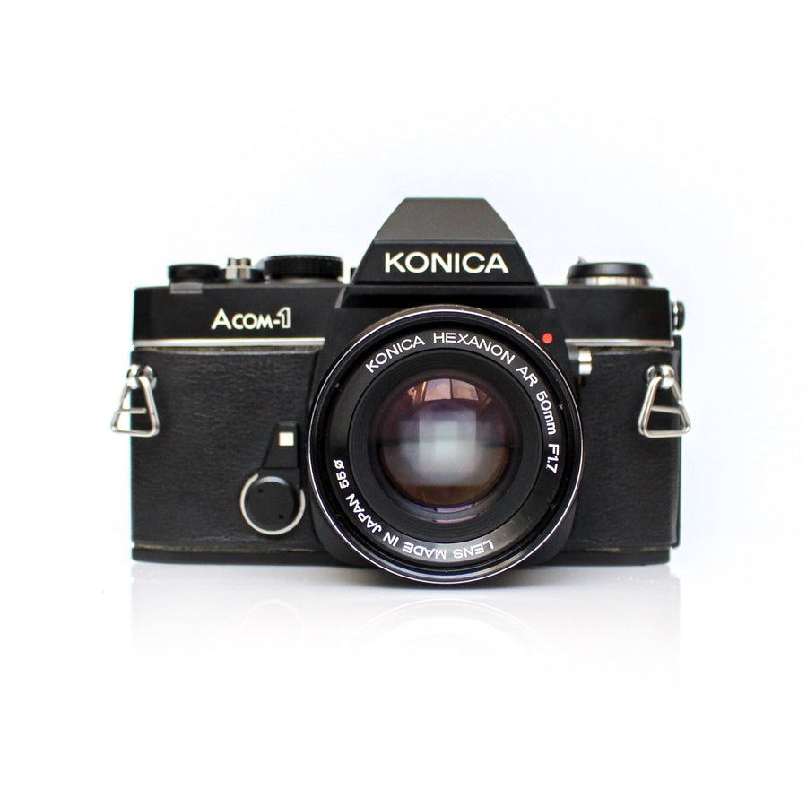 KONICA ACOM-1/Autoreflex TC 35mm SLR Film Camera W/ Konica Hexanon AR 50mm f/1.7 Lens