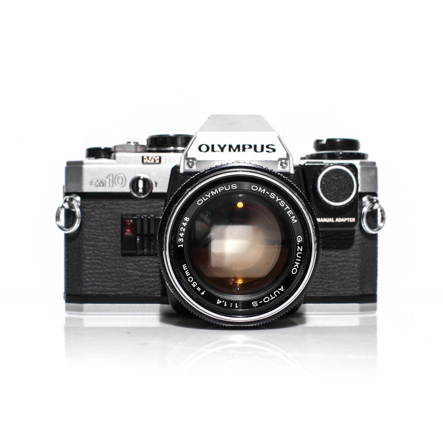 OLYMPUS OM-10 SLR 35mm Film Camera W/ OM-System G.Zuiko 50mm f1.4 Lens + Manual Adapter
