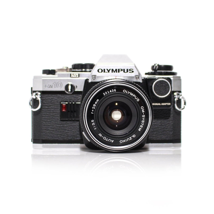 OLYMPUS OM-10 SLR 35mm Film Camera W/ OM-System Zuiko 28mm f3.5 Lens