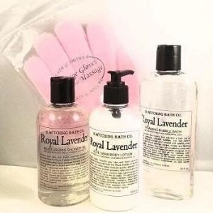 Bottles of Royal Lavender products