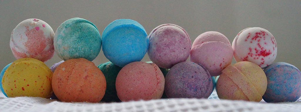 Bath bombs in multiple colors