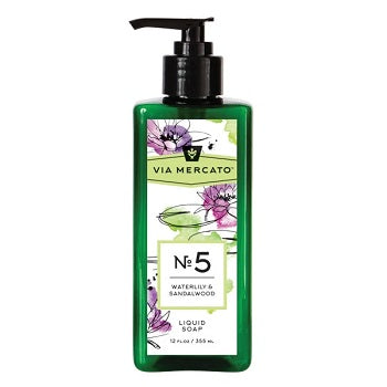 Via Mercato Liquid Soap - WaterLily & Sandalwood (No. 5) (12oz) - The Soap Opera Company
